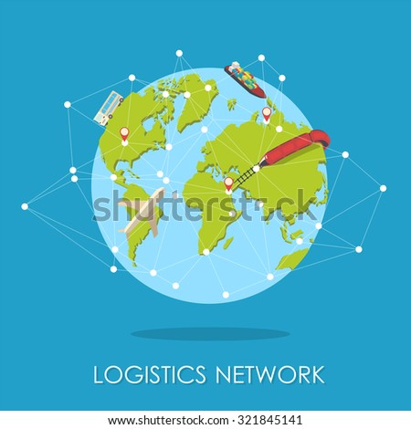 Global logistics, shipping and worldwide delivery business concept: blue Earth planet globe surrounded by net of route with plane, train and ship isolated on white blue background - stock vector