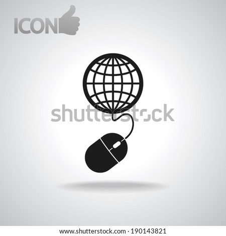 global management, computer mouse icon, vector illustration. Flat design style - stock vector