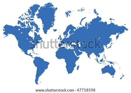 Global map, isolated on a white. Vector illustration