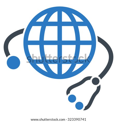 Global Medicine vector icon. Style is bicolor flat symbol, smooth blue colors, rounded angles, white background.
