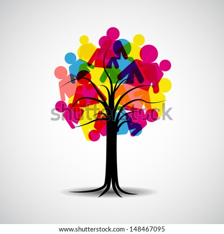 Global men Family human shapes colorful hand conceptual tree - stock vector