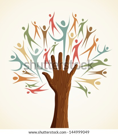 Global men Family human shapes colorful hand conceptual tree. Vector file layered for easy manipulation and custom coloring. - stock vector