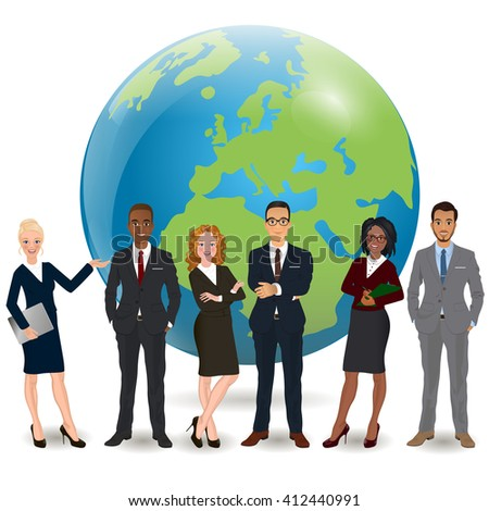 Global multi ethnic team of successful businesspeople standing with confident in front world earth globe background - stock vector