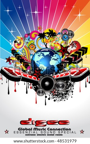 Global Music Event Abstract Background For Disco Flyers