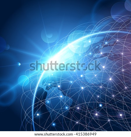 Global network background - stock vector
