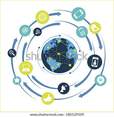 Global network flat design over white background vector illustration - stock vector