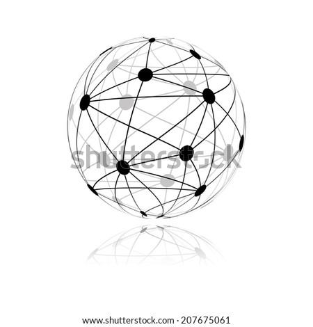 global network sphere icon. vector - stock vector