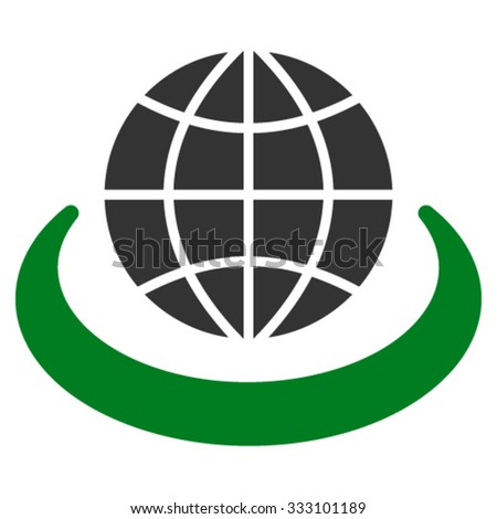 Global Network vector icon. Style is bicolor flat symbol, green and gray colors, rounded angles, white background. - stock vector
