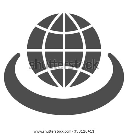 Global Network vector icon. Style is flat symbol, gray color, rounded angles, white background. - stock vector