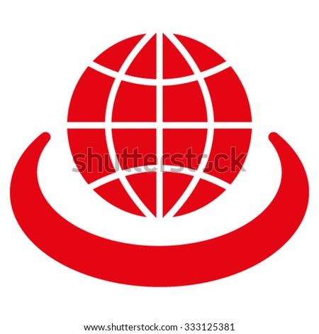 Global Network vector icon. Style is flat symbol, red color, rounded angles, white background. - stock vector