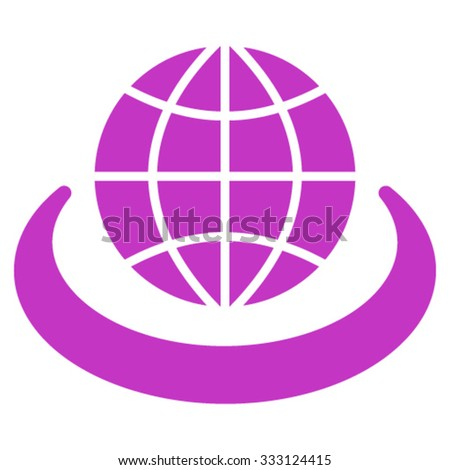 Global Network vector icon. Style is flat symbol, violet color, rounded angles, white background. - stock vector