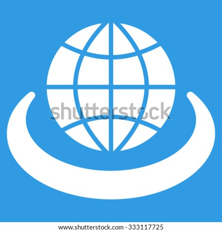 Global Network vector icon. Style is flat symbol, white color, rounded angles, blue background. - stock vector
