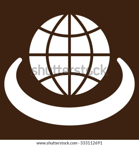 Global Network vector icon. Style is flat symbol, white color, rounded angles, brown background. - stock vector