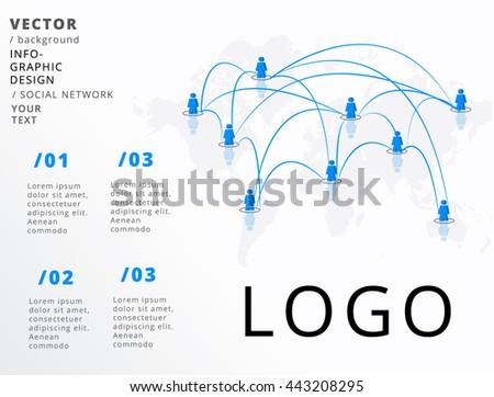 GLOBAL NETWORK , VECTOR INFOGRAPHIC DESIGN - stock vector
