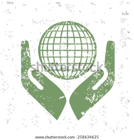 Global of ecology design on old paper,grunge vector