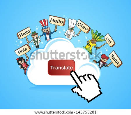 Global people internet translation concept background. Vector illustration layered for easy editing. - stock vector