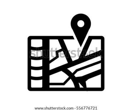 global positioning system black silhouette pin stock vector royalty