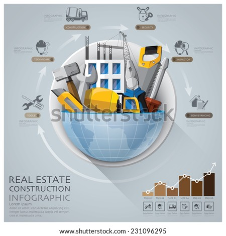Global Real Estate And Construction Infographic With Round Circle Diagram Design Template - stock vector