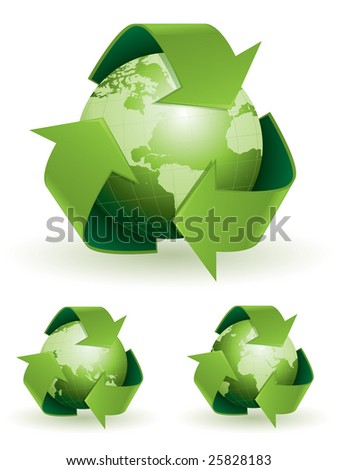 Global recycling symbols - stock vector