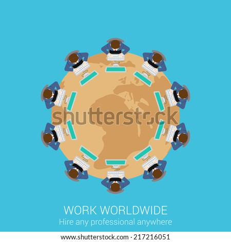Global remote corporate work concept flat icon round table businessmen teamwork worldwide conference presentation vector web illustration website click infographics elements collection - stock vector
