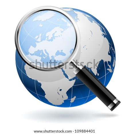 Global search concept isolated on white background. EPS10 file. - stock vector