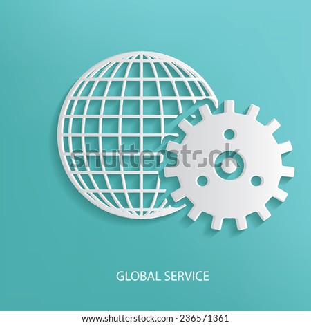 Global service symbol on blue background,clean vector