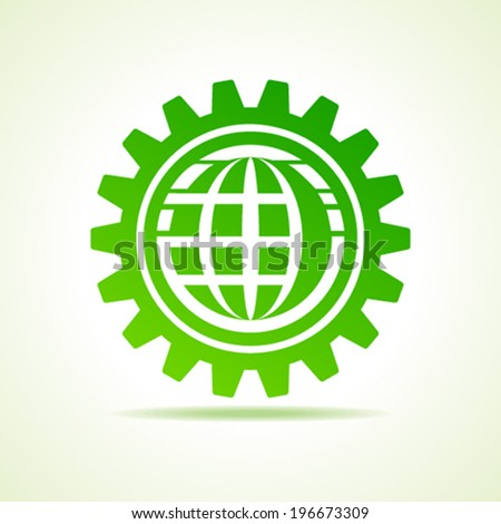 global shape design in gear concept vector - stock vector