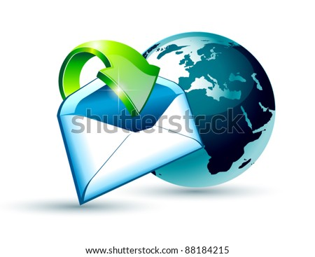 Global Shipping and Communication Email concept illustration with a 3D glossy Globe and style postcard with an arrow pointing to the center of the image. - stock vector
