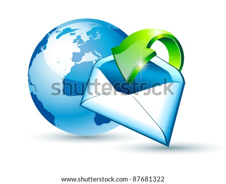 Global Shipping and Communication Email concept illustrations with a 3D glossy Globe and style postcard with an arrow pointing to the center of the image. - stock vector