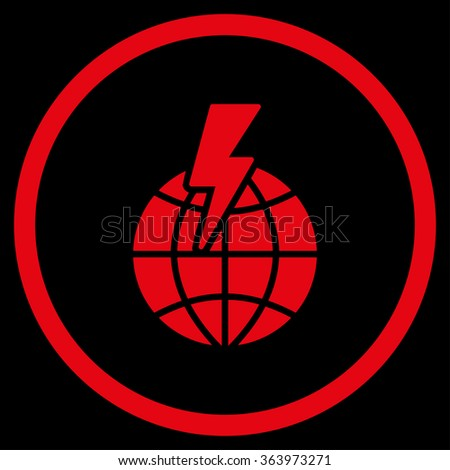 Global Shock vector icon. Style is flat circled symbol, red color, rounded angles, black background. - stock vector