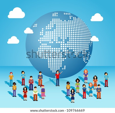 Global social media people network connection from Africa, Europe and Middle East map. Vector illustration layered for easy manipulation and custom coloring. - stock vector