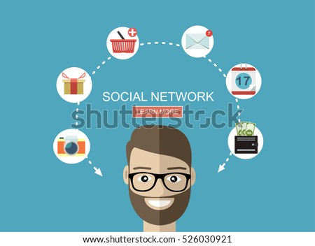 Global social network abstract schem