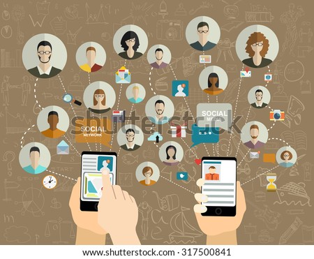 Global social network abstract scheme. - stock vector