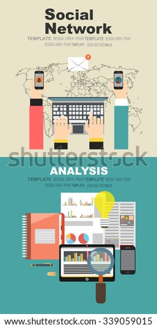 Global social network abstract scheme.Concepts for business planning and accounting, analysis, audit, project management, marketing, research in flat design style. - stock vector