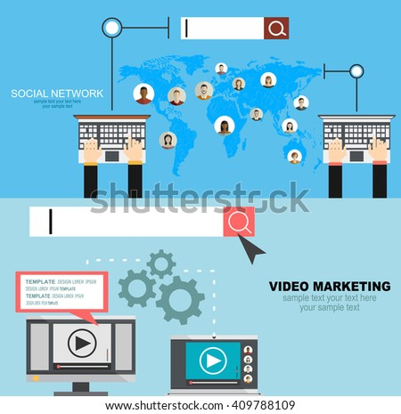 Global social network abstract scheme.Set of flat design illustration concepts for video and digital marketing. - stock vector