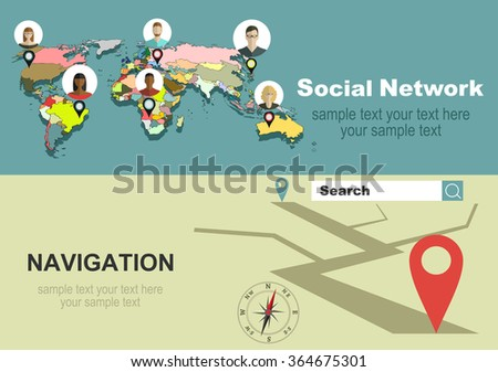 Global social network abstract scheme.Vector illustration concept of holding tablet with mobile navigation.  - stock vector