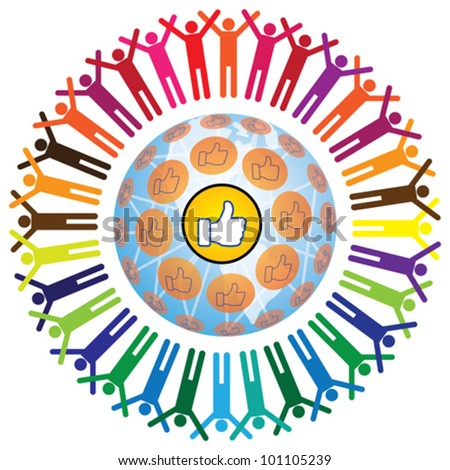 Global social networking concept of people teamworking and recommending each other as a community. A colorful illustration with connected people and like symbol. - stock vector
