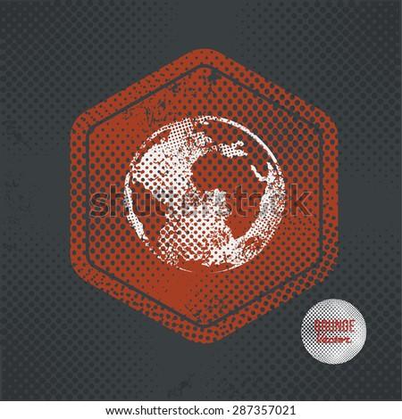 Global,stamp design on old dark background,grunge concept,vector - stock vector