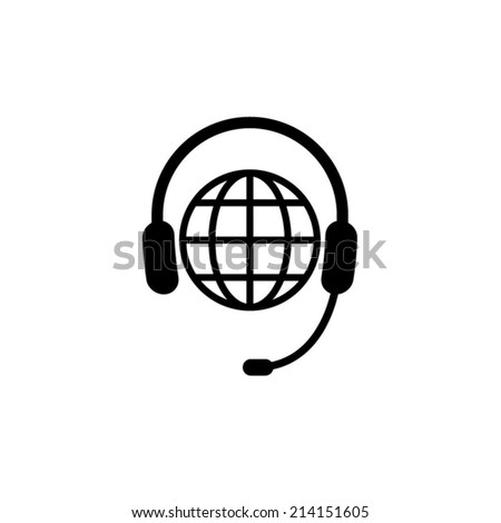 Global support or worldwide service - icon - stock vector