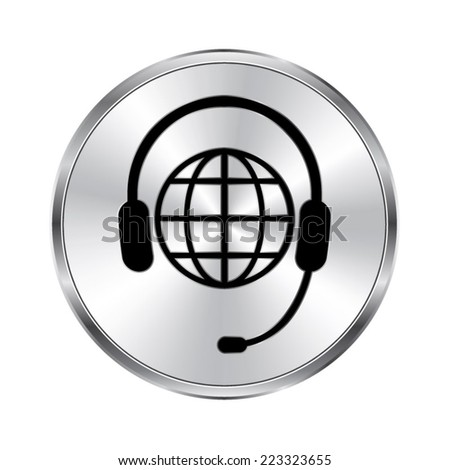 Global support or worldwide service icon - vector brushed metal button - stock vector