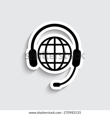 Global support or worldwide service - vector icon