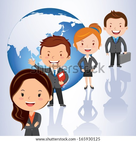 Global team. Vector illustration of successful business team standing in a row against global background. - stock vector