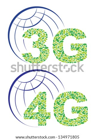 Global third generation and fourth generation - stock vector