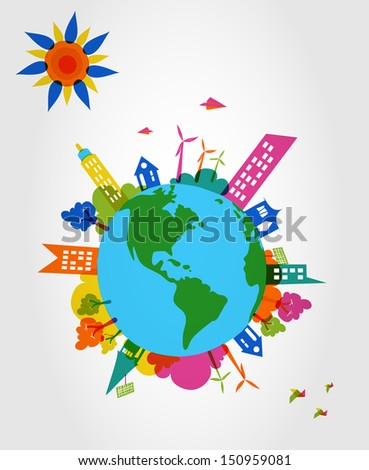 Global transparent silhouettes colorful houses, trees and wind mills illustration. Vector layered for easy editing.