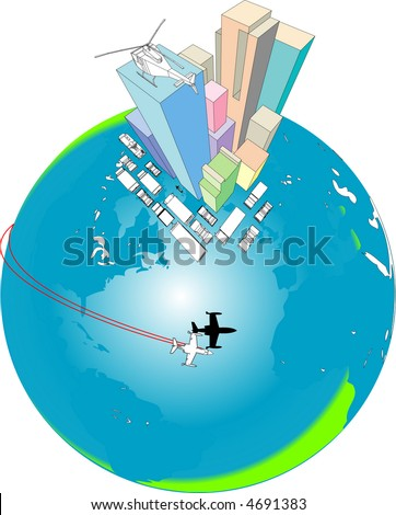 Global Transport and Melting Icecaps - stock vector