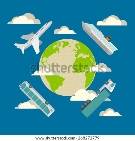 Global transportation concept. Plane, cruise liner, bus and truck. Flat design illustration in blue colors - stock vector