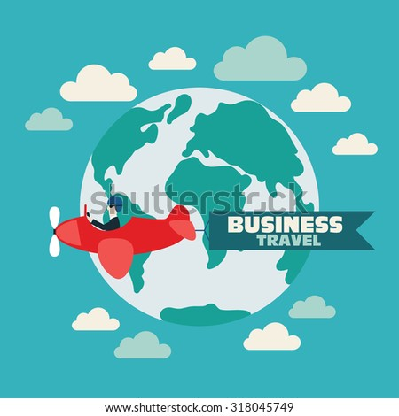 Global travel and journey modern illustration. International business travel and adventure vector concept. Businessman flying on airplane with banner around the globe. Background with sky and clouds. - stock vector