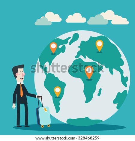 Global travel and journey modern illustration. International business travel and adventure vector concept. Businessman with suitcase over world map - stock vector