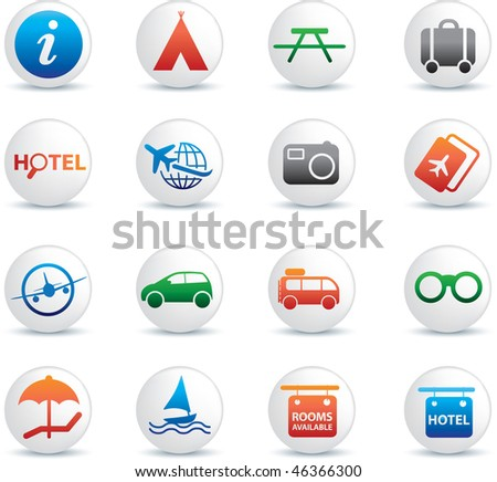 global travel and transport button silhouette icon set - stock vector