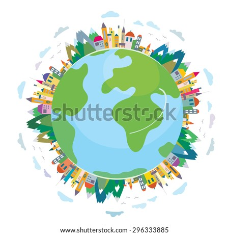 Global travel concept - cute flat design - stock vector